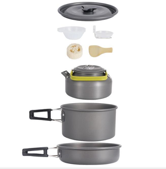 戶外野營便攜9件組不沾鍋+水壺 套鍋組(3-4人) 1