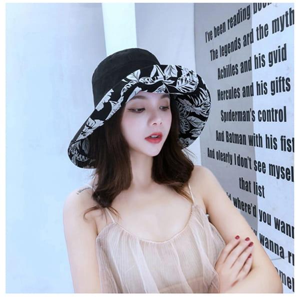日系雙面拼色摺疊遮陽帽 9