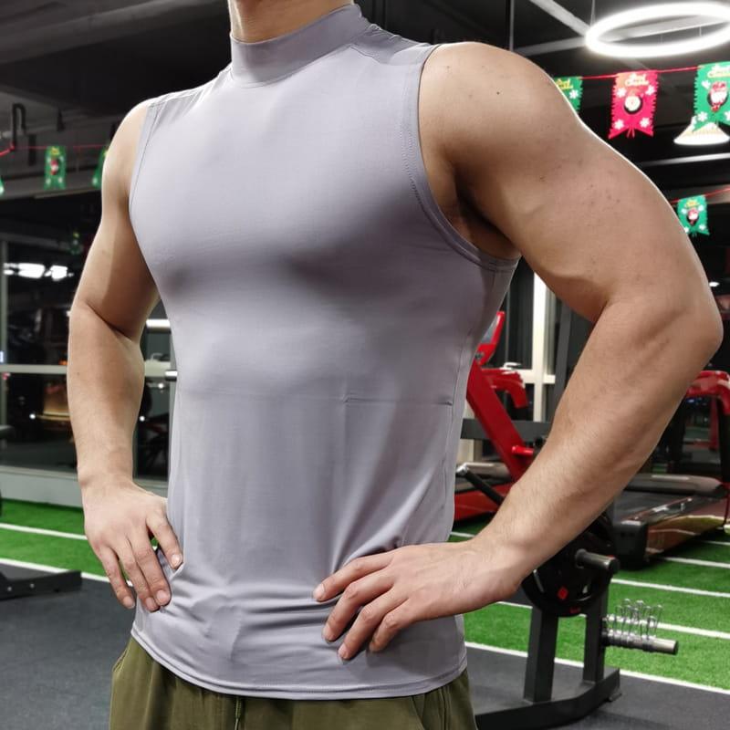 (快速出貨) 男士運動背心無袖緊身速乾運動彈力坎肩健身T恤高領訓練背心 17