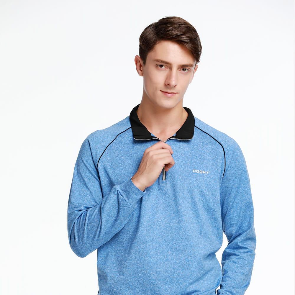 【MEGA COOHT】 男輕刷毛立翻領修身顯瘦經典款運動保暖衫 日本運動熱銷莫蘭迪色 4