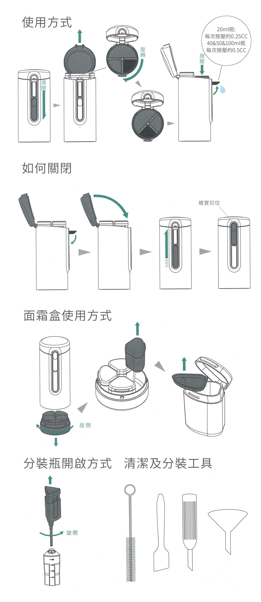 Tic Bottle 旅行分裝收納瓶 V2.0- 保養組 11
