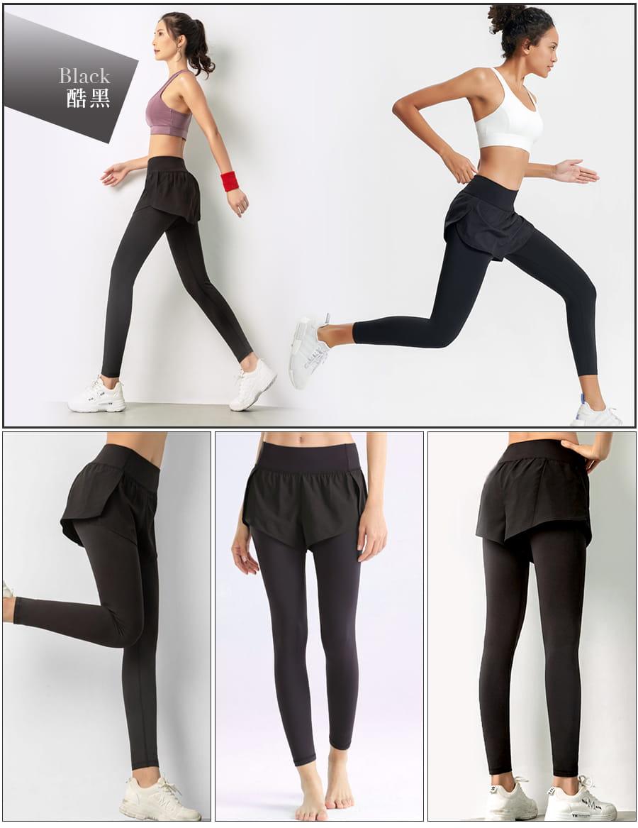 【Un-Sport 高機能】多款任選-異質拼接顯瘦假兩件長褲(瑜伽/健身/路跑) 14