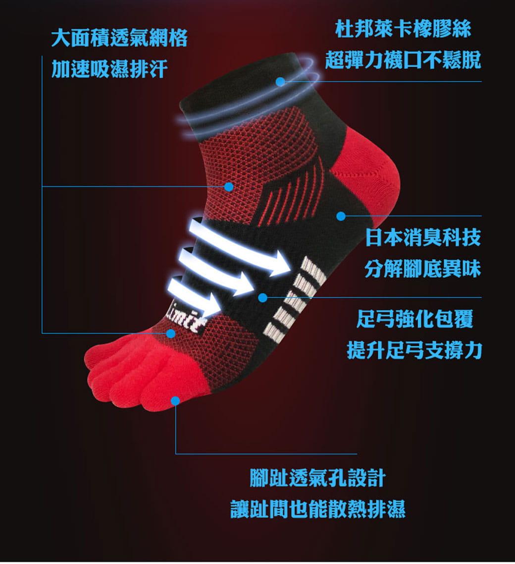 【力美特機能襪】五趾運動襪(黑紅) 4