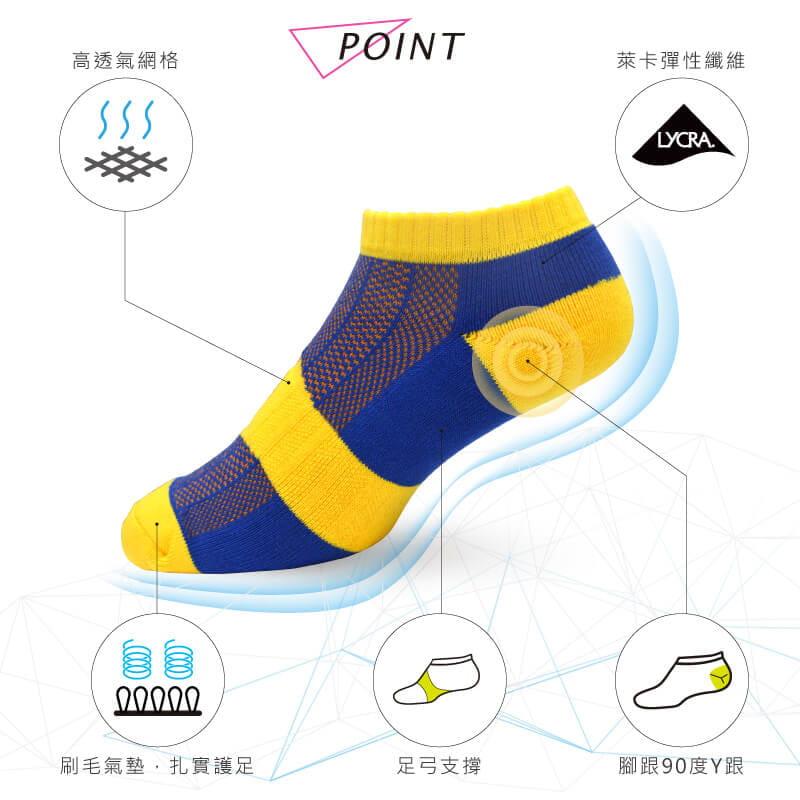 【Peilou】足弓護足氣墊船襪-條紋(男/女款) 12