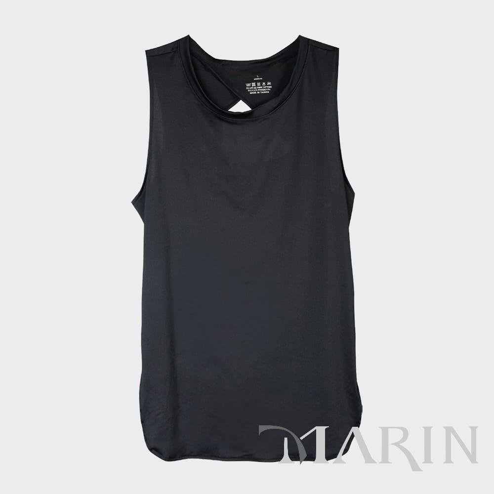 【MARIN】台灣製-酷涼透氣運動背心 黑色/灰色 0