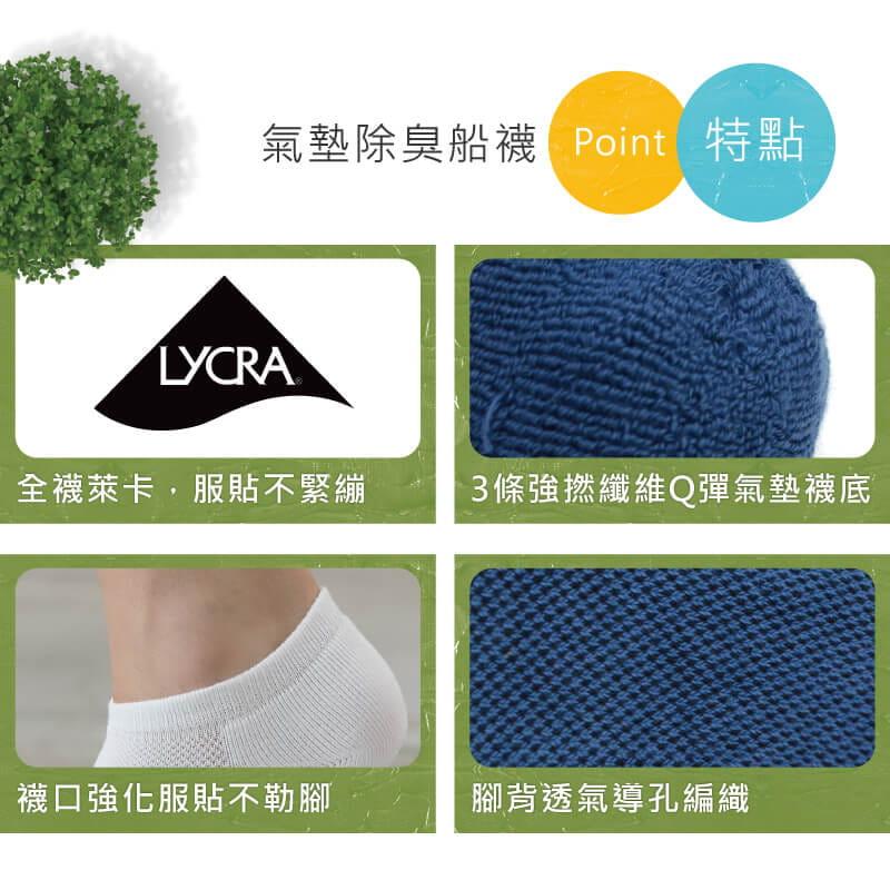 【Peilou】機能抗菌萊卡除臭船型氣墊襪(男) 5
