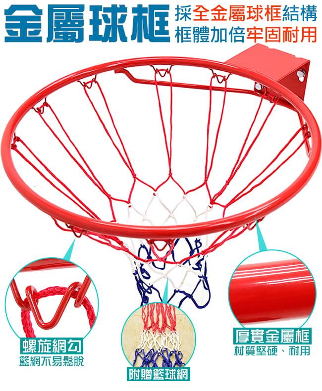 標準18吋金屬籃球框(含籃網)(標準籃框架/耐用籃筐架子) 5