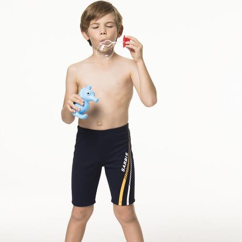 【SARBIS沙兒斯】泡湯兒童七分泳褲附泳帽B65808-02 1