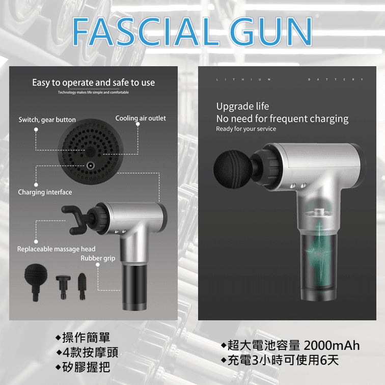【與FUJITEK同款 美國 Amazon ebay 熱賣】 FASCIAL GUN 按摩槍 筋膜槍 3