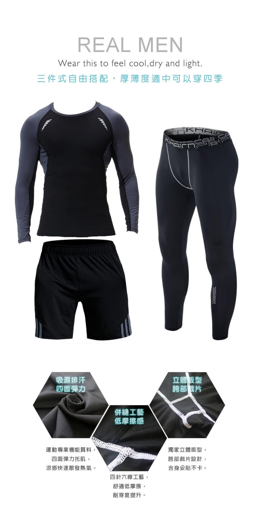 【Un-Sport高機能】型男專業吸排速乾三件式運動套組(長袖+短褲+緊身長褲) 7