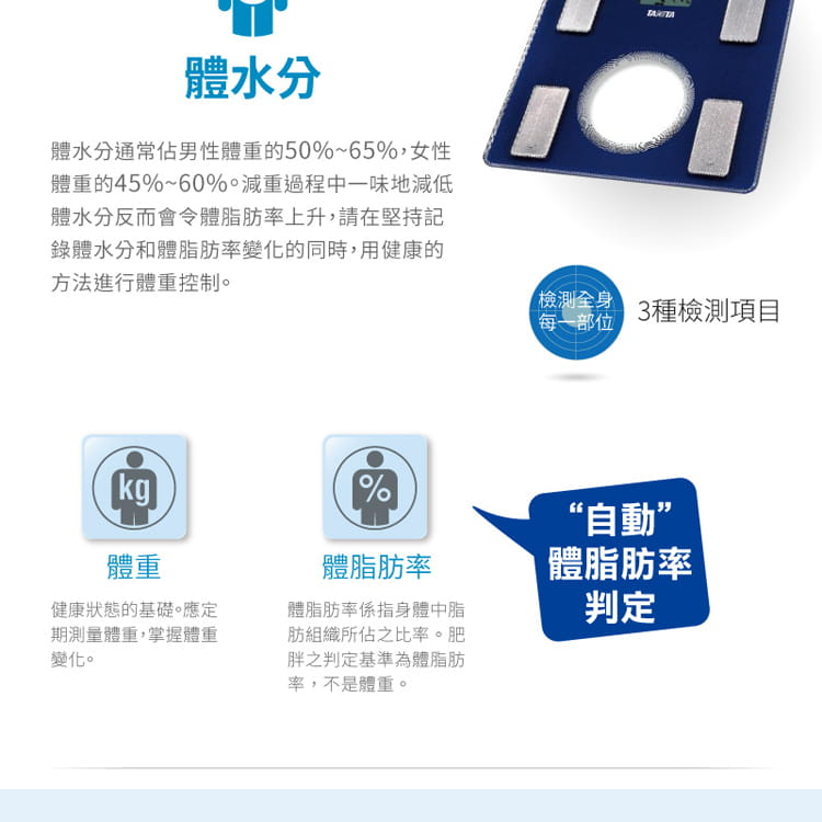 【TANITA 塔尼達】三合一體脂肪計 UM040 (藍/白/紫) 5