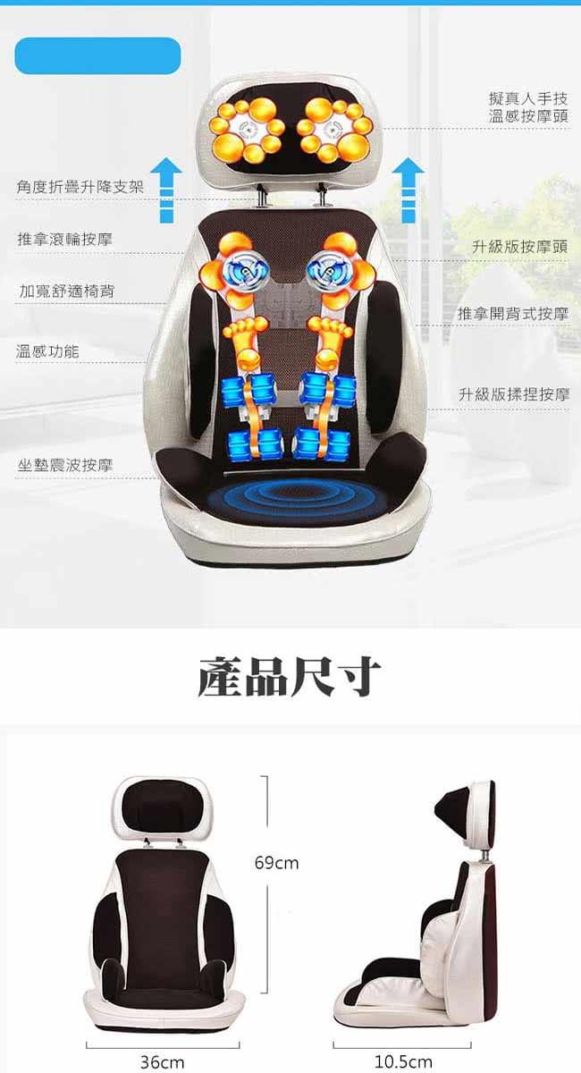 【健身大師】超越頭等艙夢幻開背按摩椅墊-顏色隨機 3