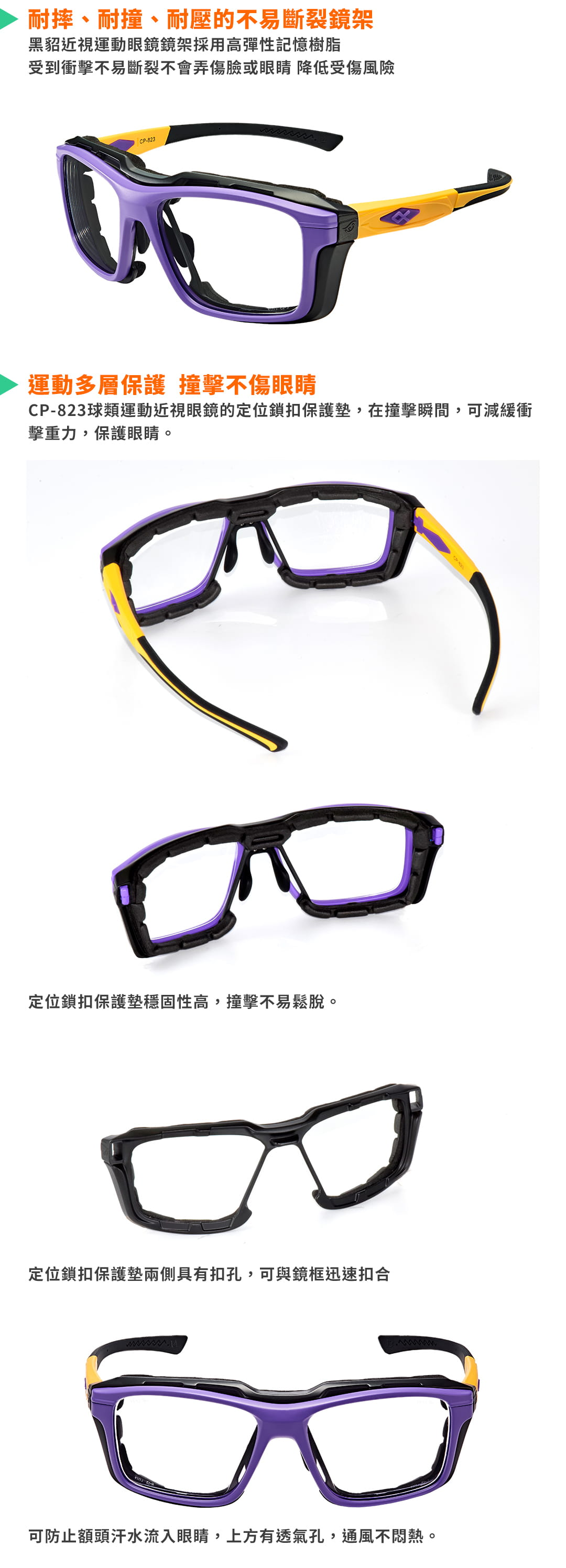 SABLE黑貂光學-專屬球類運動眼鏡CP-823(標準款-無保護墊)+SP-03(平光精緻鍍膜鏡片) 10