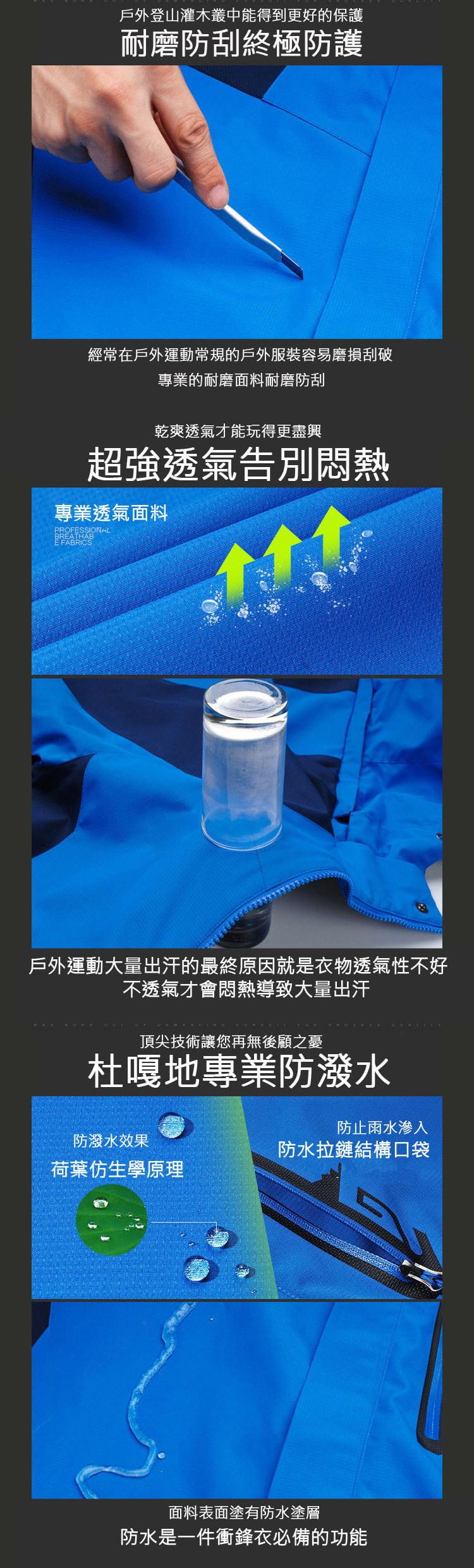 加大碼三合一真禦寒機能衝鋒衣外套  防水防風戶外登山外套 男/女款 XL~8XL【CP16001】 7