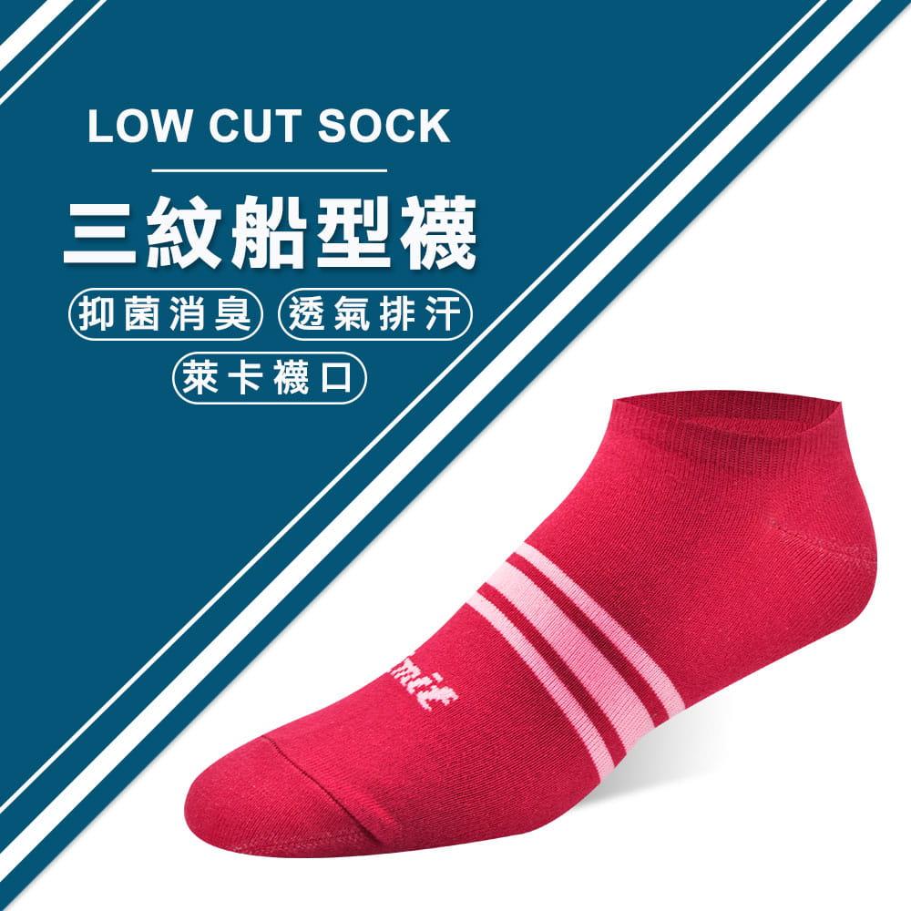 【力美特機能襪】三紋船型襪(紅) 0