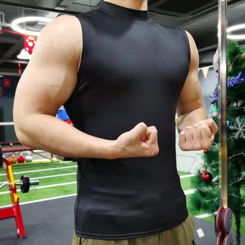 (快速出貨) 男士運動背心無袖緊身速乾運動彈力坎肩健身T恤高領訓練背心 14