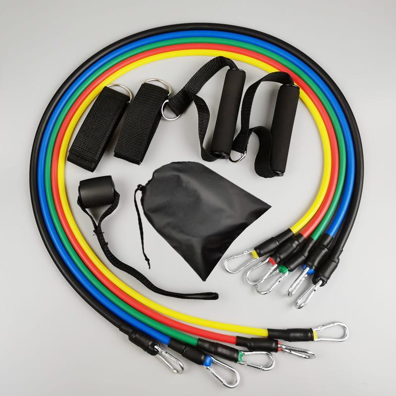 11件套拉力器多功能彈力繩男士拉力繩胸肌訓練健身器材家用套裝 0