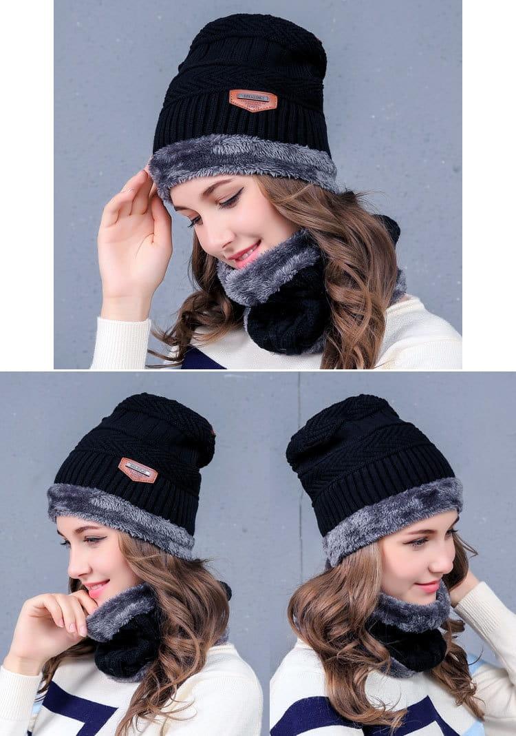 【JAR嚴選】時尚情侶針織圍脖頭帽組 11
