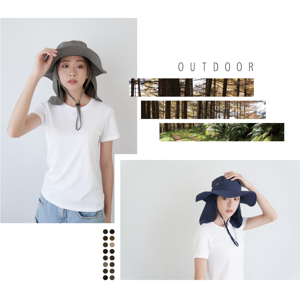 【Peilou】UPF50+多功能休閒遮陽帽-男女款 6