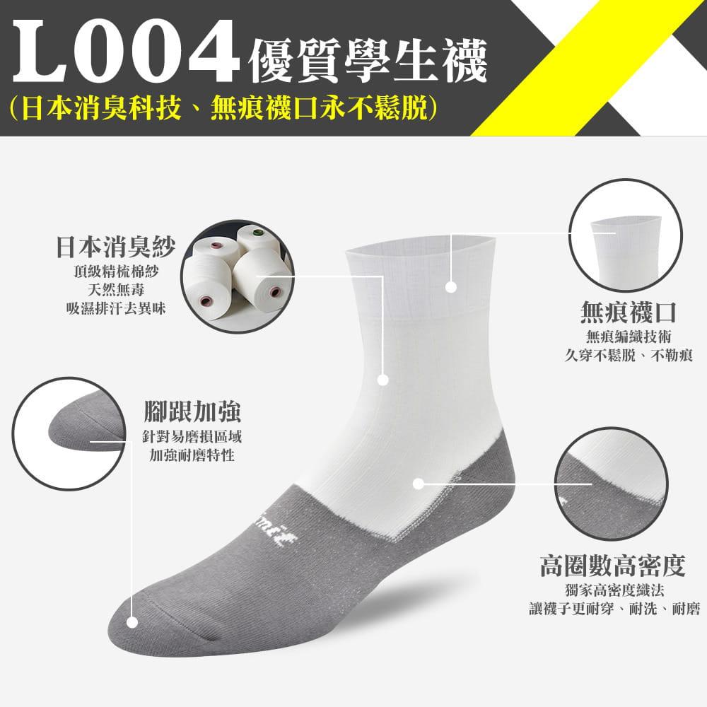 【力美特機能襪】優質學生襪(白灰) 0