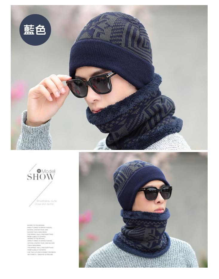 【QI 藻土屋】圖騰加絨超柔軟超保暖圍脖頭帽二件組 (毛帽+圍脖) 3色任選 12