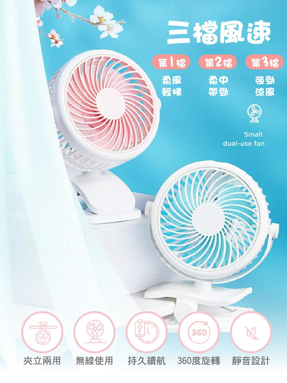 【超低噪音省電級夾式風扇】多色任選 夾式電風扇 迷你電扇夾扇 2
