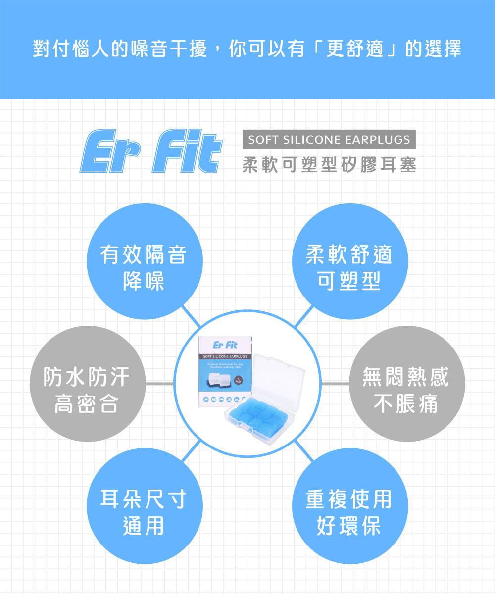 【ER FIT】矽膠耳塞〈粉色.12入〉舒適無痛/柔軟可塑/隔音防噪/(內附收納盒) 3