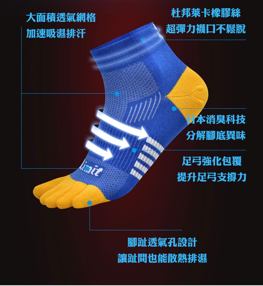 【力美特機能襪】五趾運動襪(寶藍黃) 4