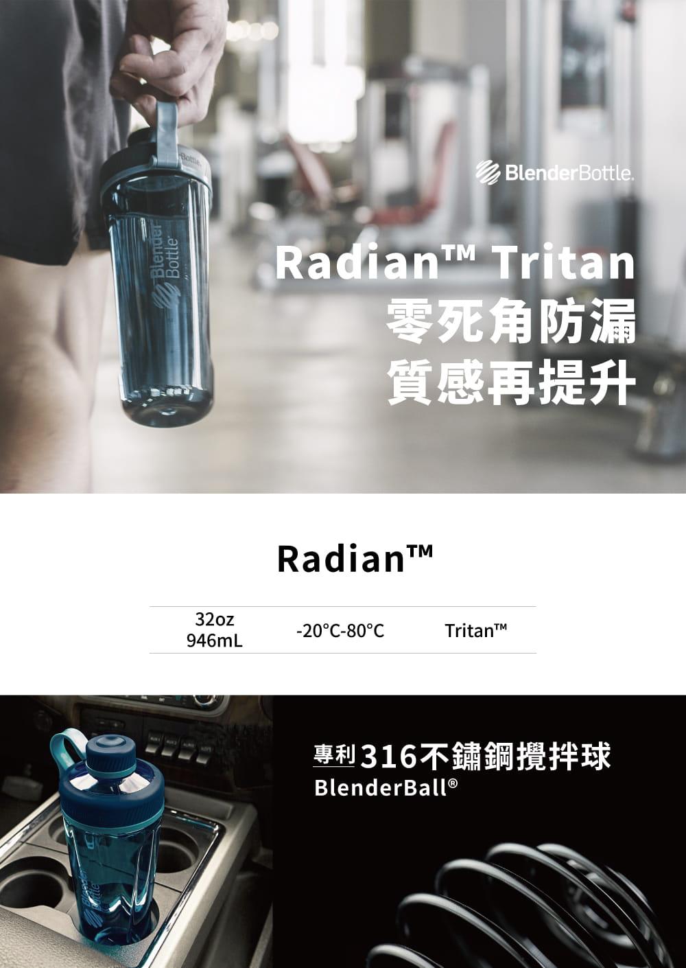 【Blender Bottle】Radian系列-Tritan旋蓋運動搖搖杯32oz(8色)+送mars隨手包 1