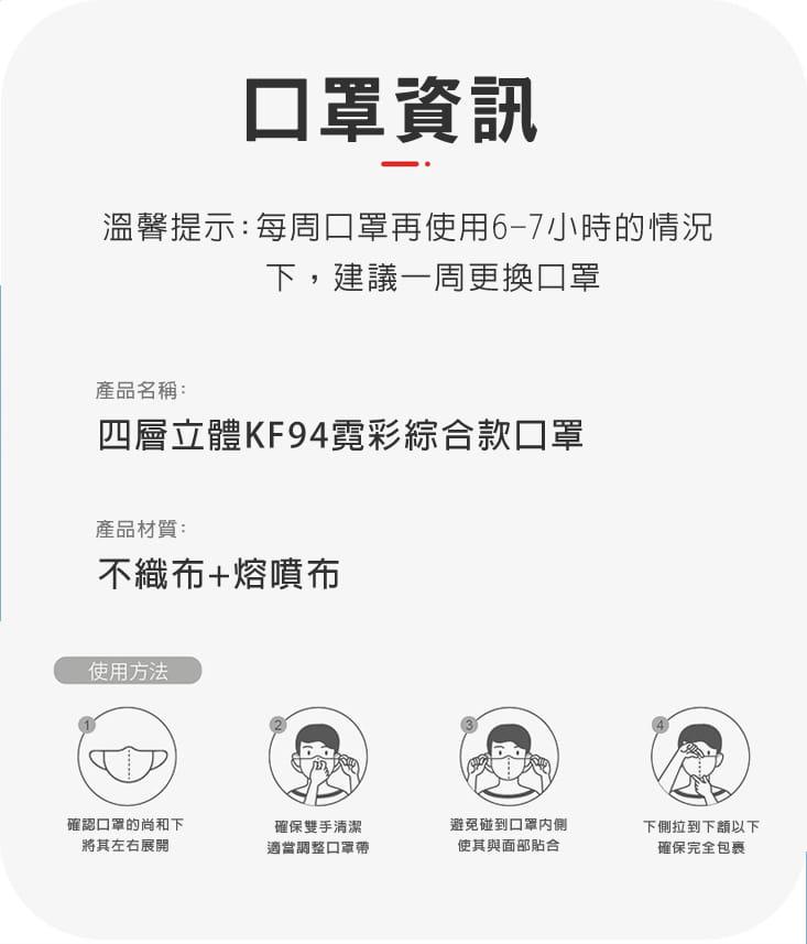 【英才星】KF94四層立體霓彩綜合款口罩(50片/組) 12