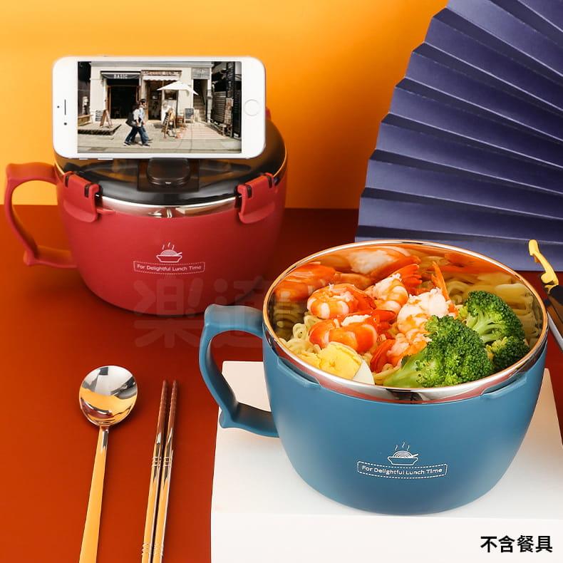 304不鏽鋼密封扣泡麵碗 蓋子可瀝水可當手機架 QF-9138【1300ml】泡麵碗 14