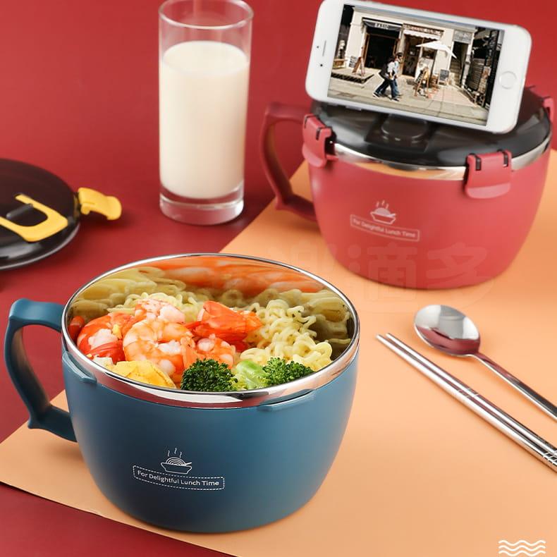 304不鏽鋼密封扣泡麵碗 蓋子可瀝水可當手機架 QF-9138【1300ml】泡麵碗 13