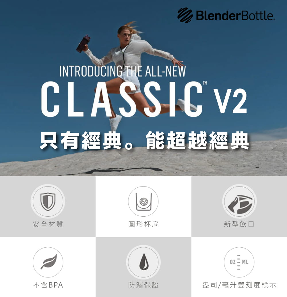 【Blender Bottle】Classic系列 V2 Foodie搖搖杯 28oz 5色 5