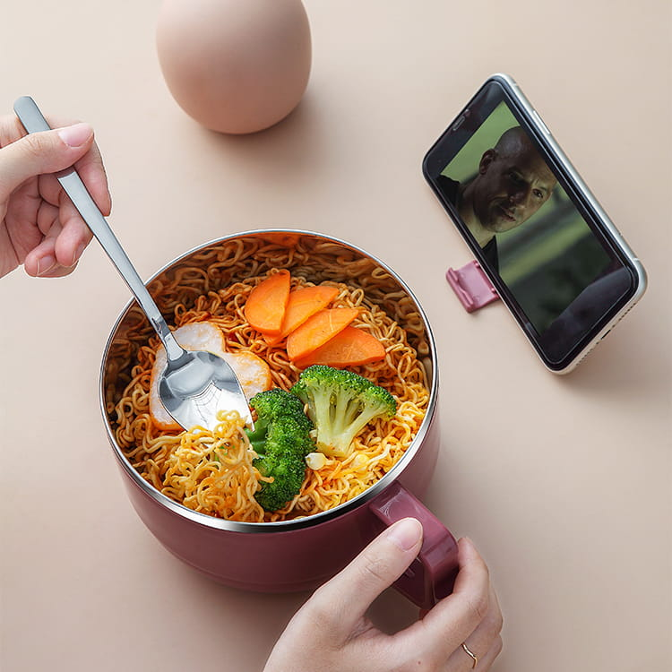 【1300ml】304不鏽鋼泡麵碗 蓋子可瀝水 蓋子可當手機架 SG9139泡麵碗 304不鏽鋼碗 3