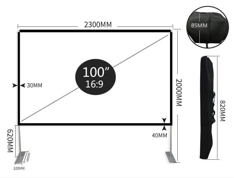微米 100吋 16:9 戶外框架幕 支架幕 便攜 露營 可折疊 可洗 3