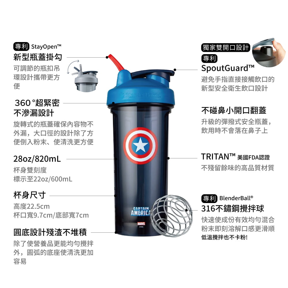 【Blender Bottle】Pro28系列-Marvel漫威英雄Tritan搖搖杯28oz【送Mars乳清】 6