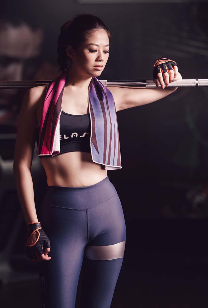 【ELASTI】彈力接皮健身壓力褲 5