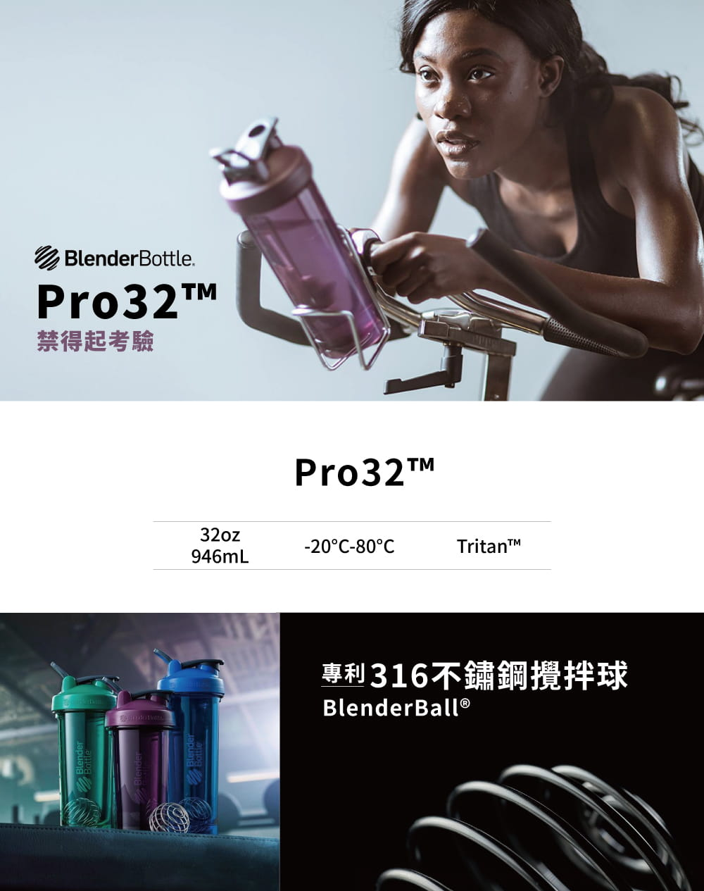 【Blender Bottle】Pro32系列-Tritan高透視搖搖杯32oz(7色) 1