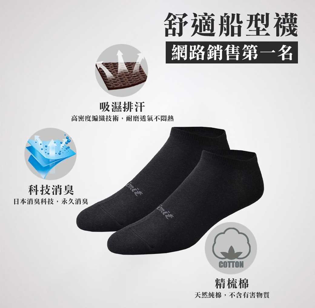 【力美特機能襪】舒適船型襪(黑) 2