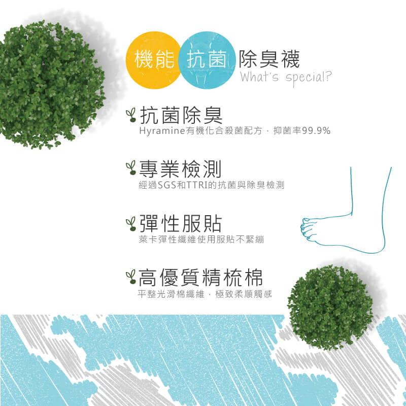 【Peilou】機能抗菌萊卡除臭船型氣墊襪(男) 8