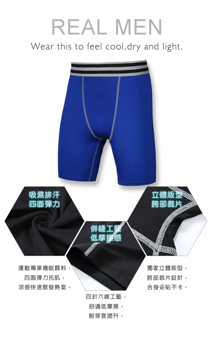 【Un-Sport高機能】專業吸排男用緊身五分褲-超值二入組(路跑/健身/籃球) 6