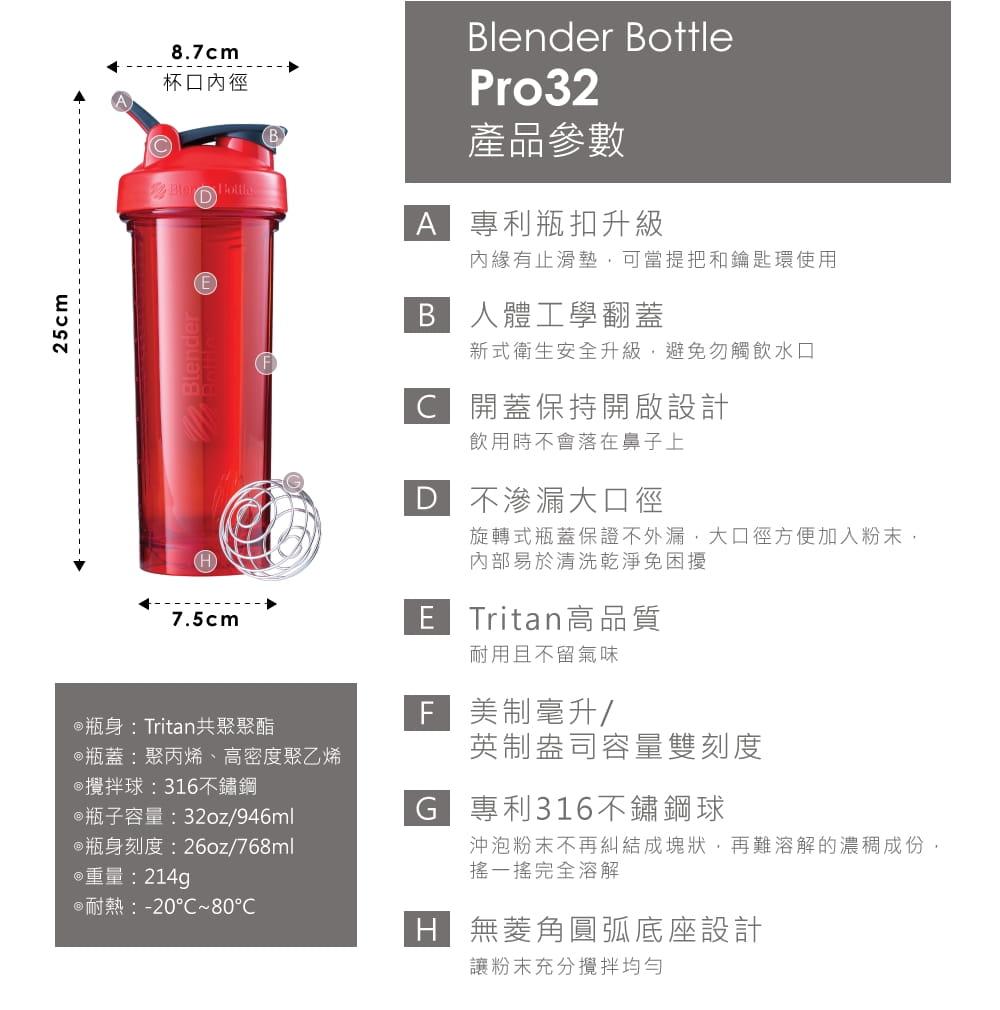 【Blender Bottle】Pro32系列|Tritan|專業透亮搖搖杯|32oz|7色 5