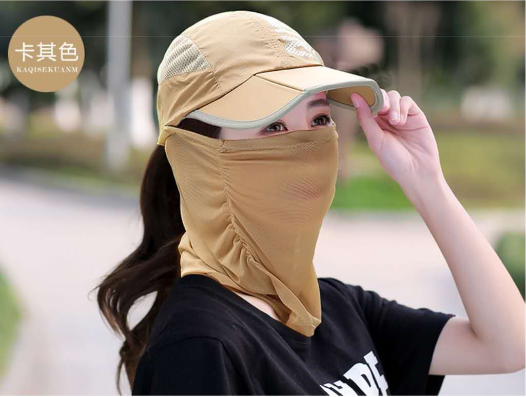 網頂全罩式可折疊防曬帽 夏天\遮臉\鴨舌太陽帽\戶外\折疊\紫外線\電動車\遮陽帽/自行車/腳踏車 13