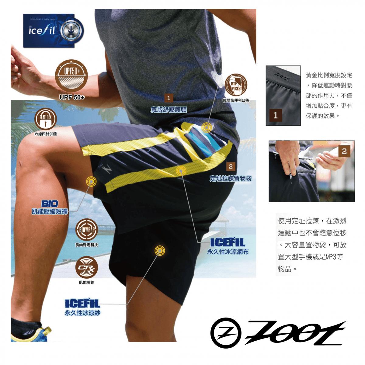 【ZOOT】 冰涼感二合一7吋輕肌能跑褲 (男) 2