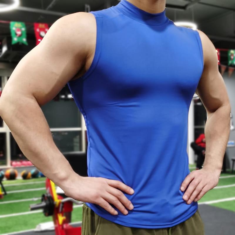 (快速出貨) 男士運動背心無袖緊身速乾運動彈力坎肩健身T恤高領訓練背心 15