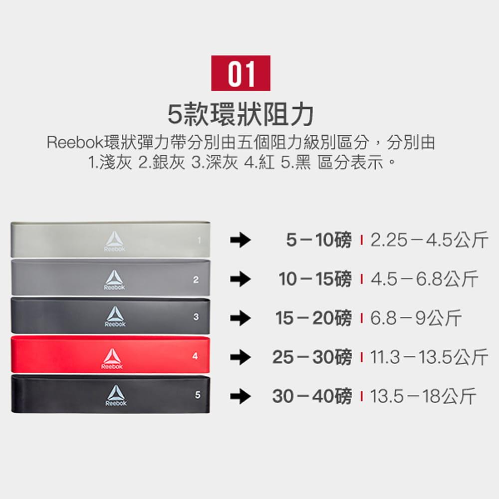【Reebok】專業訓練環狀彈力帶(5入) 3