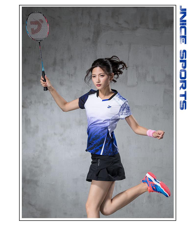 【JNICE】韓版晨曦羽球競技衫(女版)-白藍 6