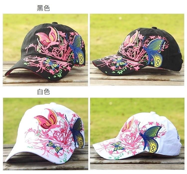 韓版蝶戀花帽綉花蝴蝶可調節棒球帽男女適用【AG09004】 13
