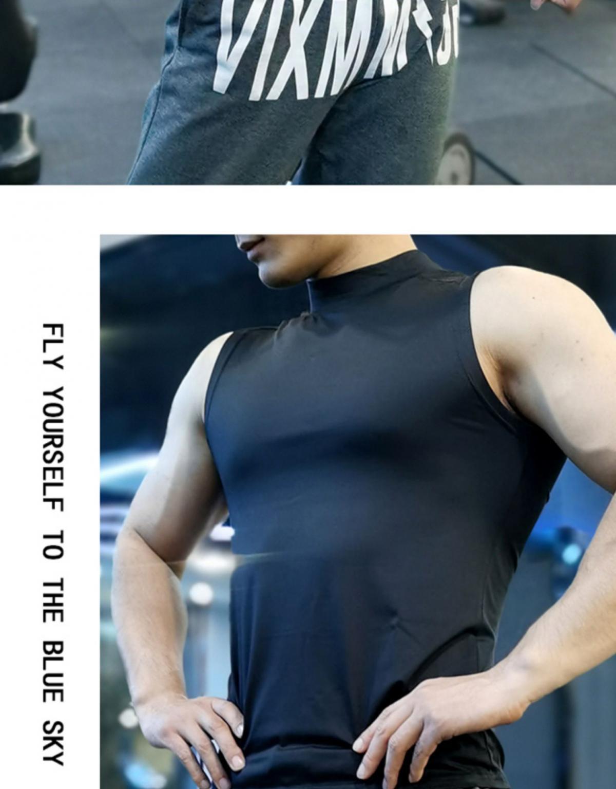 (快速出貨) 男士運動背心無袖緊身速乾運動彈力坎肩健身T恤高領訓練背心 10