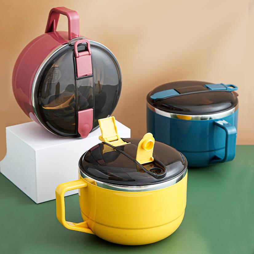 【1300ml】304不鏽鋼泡麵碗 蓋子可瀝水 蓋子可當手機架 SG9139泡麵碗 304不鏽鋼碗 7